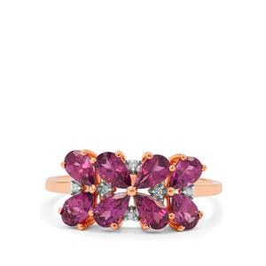 Comeria Garnet Ring with Diamond in 9K Rose Gold 2.05cts