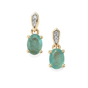 Grandidierite Earrings with Diamond in 10K Gold 1.46cts