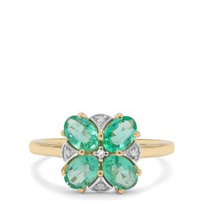Ethiopian Emerald Ring with Diamond in 9K Gold 1.63cts