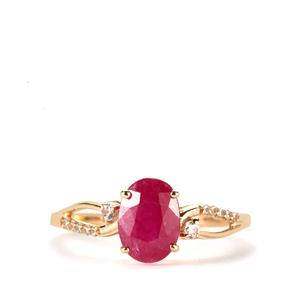 John Saul Ruby Ring with White Zircon in 9K Gold 1.86cts