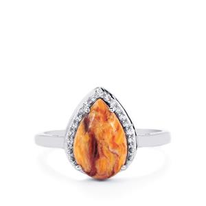 Lion's Paw Shell (12x8mm) & White Topaz Sterling Silver Ring