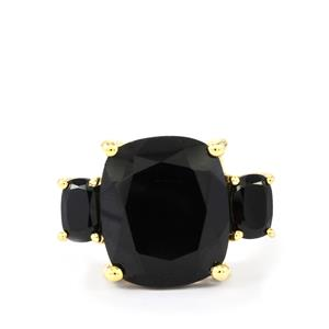 Black Spinel Ring in Two Tone Gold Plated Sterling Silver 7.60cts