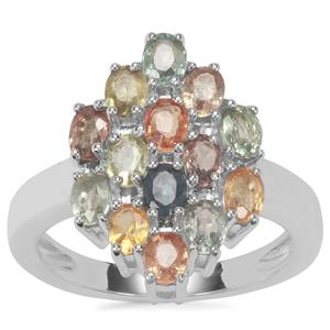 Songea Multi Sapphire Ring in Sterling Silver 3.43cts