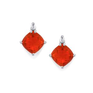 AA American Fire Opal Earrings with White Zircon in Platinum Plated Sterling Silver 2.21cts