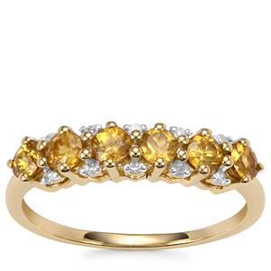 Morafeno Sphene Ring with Diamond in 10k Gold 0.75cts