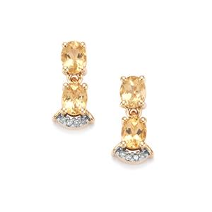 Ouro Preto Imperial Topaz & Diamond 9K Gold Earrings ATGW 1.30cts