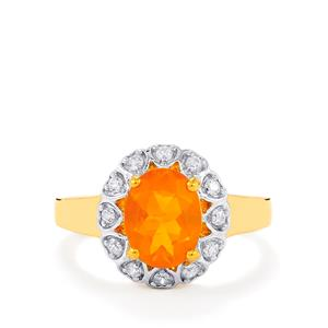 AA American Fire Opal Ring with White Zircon in Gold Vermeil 1.54cts