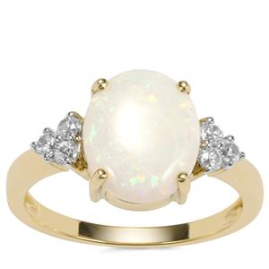 Coober Pedy Opal Ring with White Zircon in 9K Gold 1.80cts