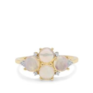 Kelayi Opal Ring with White Zircon in 9K Gold 1.36cts