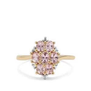 Cherry Blossom™ Morganite & Diamond 9K Gold Ring ATGW 1.17cts