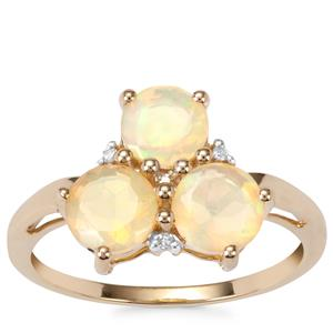 Ethiopian Opal Ring with Diamond in 9K Gold 1.32cts