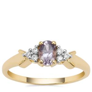 Mahenge Purple Spinel Ring with White Zircon in 9K Gold 0.58ct