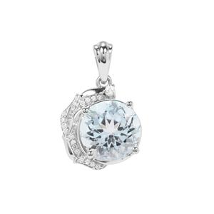 Sky Blue Topaz Pendant with White Zircon in Sterling Silver 6.55cts