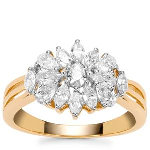Fancy Diamond Ring in 18k Gold 1ct