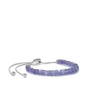Tanzanite Slider Graduted Bead Bracelet in Sterling Silver 17.50cts