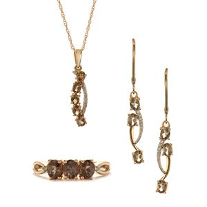 Bekily Colour Change Garnet & Diamond 9K Set of Ring, Earrings, Pendant and Chain ATGW 3.64cts