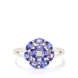 AA Tanzanite & White Topaz Sterling Silver Ring ATGW 1.29cts