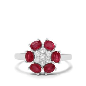 Thai Ruby & Optic Quartz Sterling Silver Ring ATGW 1.36cts (F)