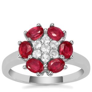Thai Ruby Ring with Optic Quartz in Sterling Silver 1.36cts (F)