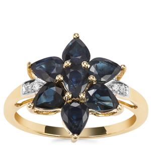 Australian Blue Sapphire Ring with White Zircon in 9K Gold 2.72cts