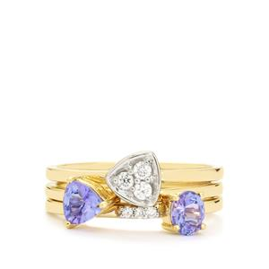 AA Tanzanite Set of 3 Stacker Rings with White Zircon in 10K Gold 0.86cts