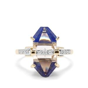 Lehrer Cosmic Obelisk Optic Quartz, Sar-i-Sang Lapis Lazuli & Diamond 9K Gold Ring ATGW 6.86cts