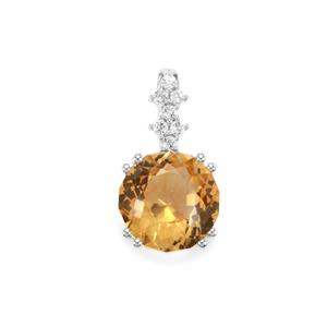 Lotus Cut Diamantina Citrine Pendant with White Topaz in Sterling Silver 3.50cts