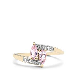 Imperial Pink Topaz & White Zircon 10K Gold Ring ATGW 0.61cts