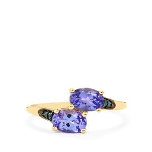 AA Tanzanite Ring with Blue Diamond in 10k Gold 1.20cts