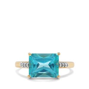 Batalha Topaz Ring with Diamond in 9K Gold 3.84cts