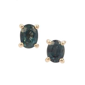Nigerian Blue Sapphire Earrings in 9K Gold 0.63ct