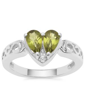 Vesuvianite Ring with White Zircon in Sterling Silver 1.17cts