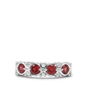 Rajasthan Garnet & White Zircon Sterling Silver Ring ATGW 1.09cts