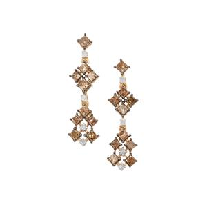 Champagne Diamond Earrings with White Diamond in 9K Gold 1.20ct