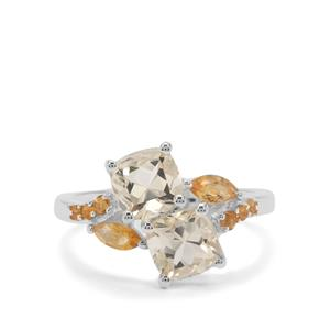 Serenite & Diamantina Citrine Sterling Silver Ring ATGW 2.27cts