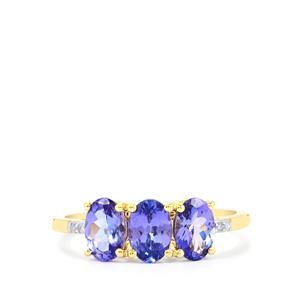 AA Tanzanite Ring with Diamond in 10k Gold 1.67cts