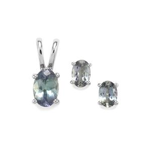 Bi Colour Tanzanite Set of Pendant and Earrings in Sterling Silver 1.75cts