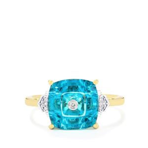 Lehrer TorusRing Batalha Topaz Ring with Diamond in 10k Gold 3.79cts