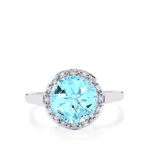 Lone Star Sky Blue Topaz Ring with White Topaz in Sterling Silver 5.21cts