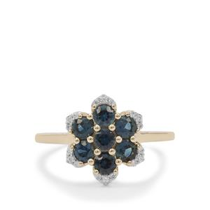 Australian Blue Sapphire Ring with White Zircon in 9K Gold 1.15cts