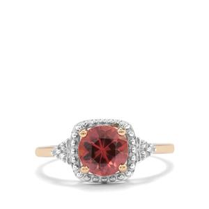 Zanzibar Sunburst Zircon & Diamond 9K Gold Ring ATGW 2.03cts