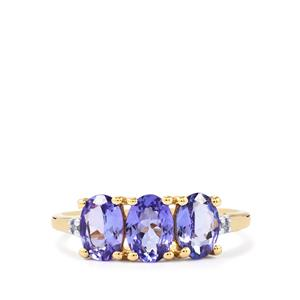 AA Tanzanite Ring with Diamond in 10k Gold 1.72cts