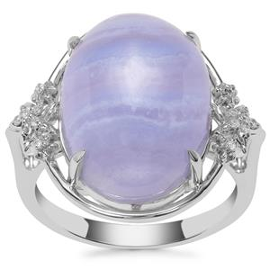 Blue Lace Agate Ring with White Zircon in Sterling Silver 11.67cts