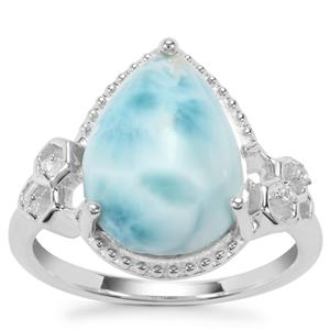 Larimar Ring with White Zircon in Sterling Silver 5.23cts