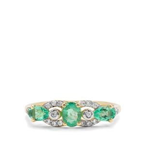 Colombian Emerald & White Zircon 9K Gold Ring ATGW 0.91ct