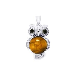 Tiger's Eye, Black Spinel Pendant with White Zircon in Sterling Silver 7.30cts