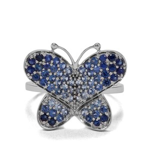 1.33ct Madagascan Blue Sapphire 9K White Gold Tomas Rae Butterfly Ring