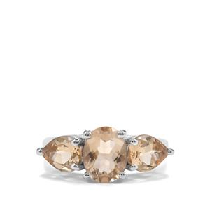 3.56ct Bolivian Natural Champagne Quartz Sterling Silver Ring
