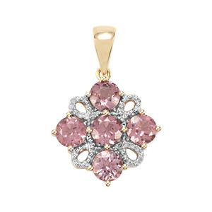 Mahenge Pink Spinel Pendant with Diamond in 9K Gold 2.75cts