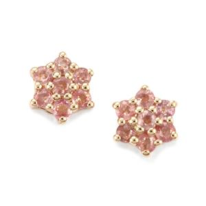 Padparadscha Sapphire Earrings in 10k Gold 1.21cts